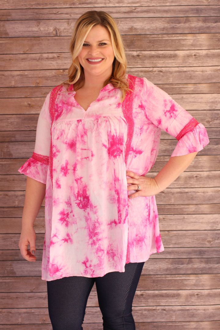 One Faith Boutique - Give You Tie-Dye Babydoll Tunic With Crochet Accents ~ Pink ~ Sizes 12-18, $37.00 (https://www.onefaithboutique.com/new-arrivals/give-you-tie-dye-babydoll-tunic-with-crochet-accents-pink-sizes-12-18/)