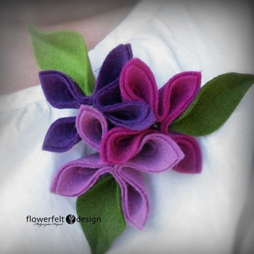 Felt Flower Brooch (tree roses by malarys on Etsy)