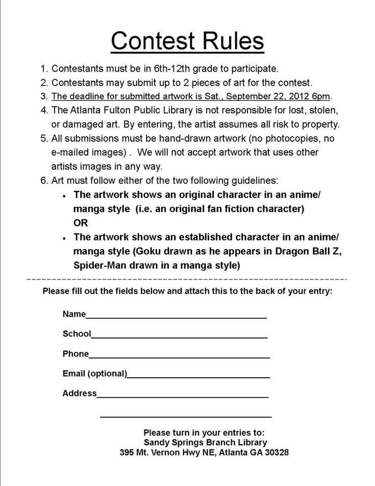 Más de 25 ideas únicas sobre Contest rules en Pinterest Fiesta - contest form template