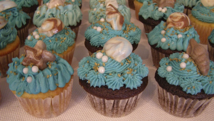Sea Shell Cupcakes For A Jamaica Theme Wedding Shower