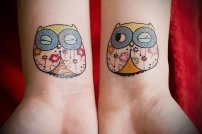Two Cute Owls Two cute owl tattoos on either wrist. - Download