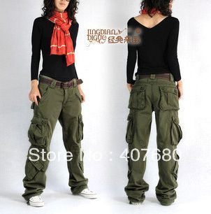 2013 winter women's overalls cargo pants casual multi pocket loose hip hop pants straight trousers thick army green plus size-inPants & Capris from Apparel & Accessories on Aliexpress.com