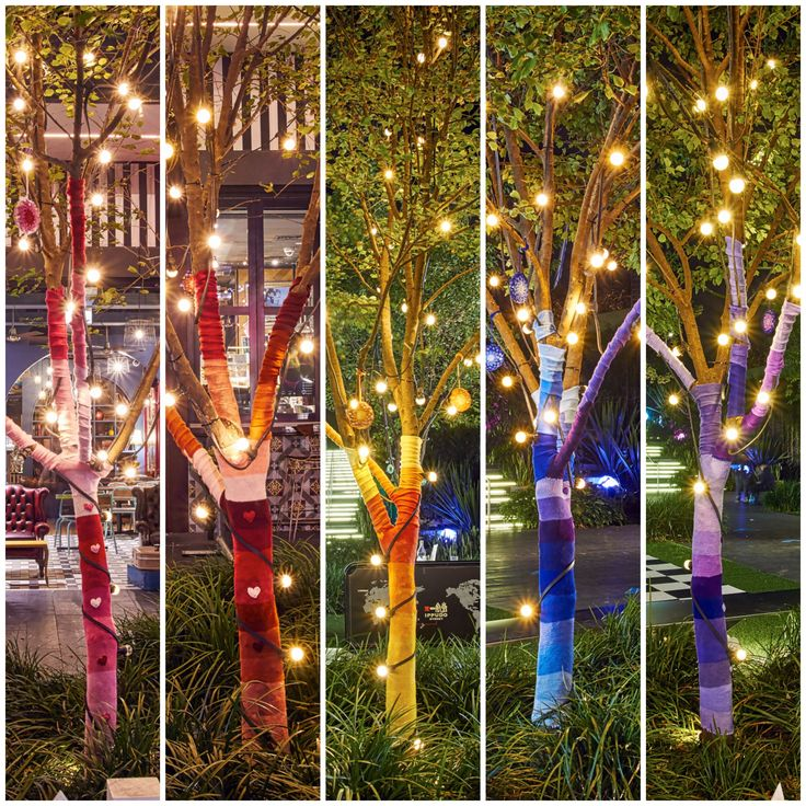 Queen Babs Yarnbomb installation for Central Park and Vivid, Sydney 2016 (5 of the 8 trees decorated)