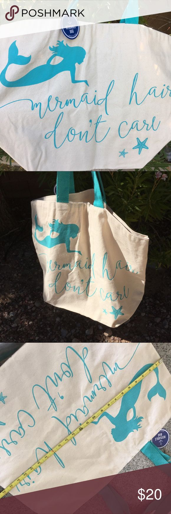 'Mermaid hair don't care' LARGE canvas tote 🐟🐟🐟 Big sturdy tote bag. Nice for beach , gym or shopping. Natural colored fabric with Turquoise handles. 🐟🐟🐟🐟🐟🐟🐟🐟🐟🐟🐟🐟🐟🐟🐟🐟 Bags Totes