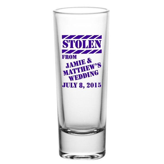 96 Personalized Wedding Favor 2oz Tall Glass Shot by Factory21