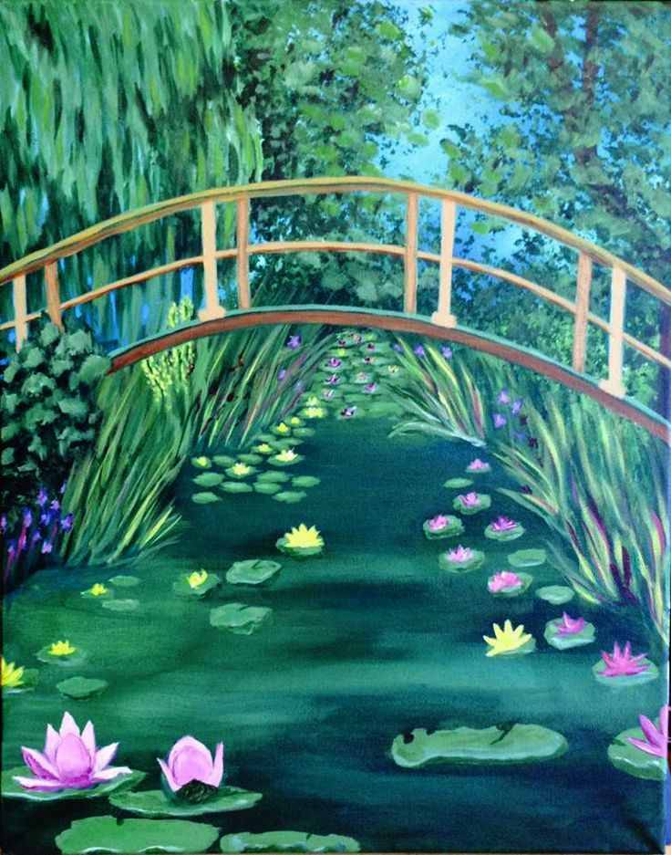 Paint our gorgeous take on Monet's Lily Pond.