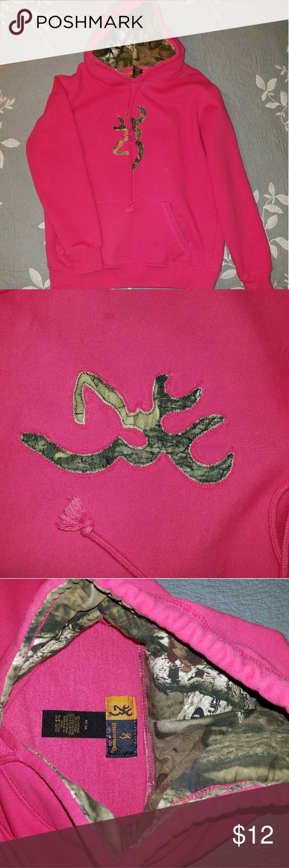 Women's Browning Pink Hoodie with Camo Small Pink Browning Hoodie with Camo.   Tag says M but fits more like a small Browning Tops Sweatshirts & Hoodies