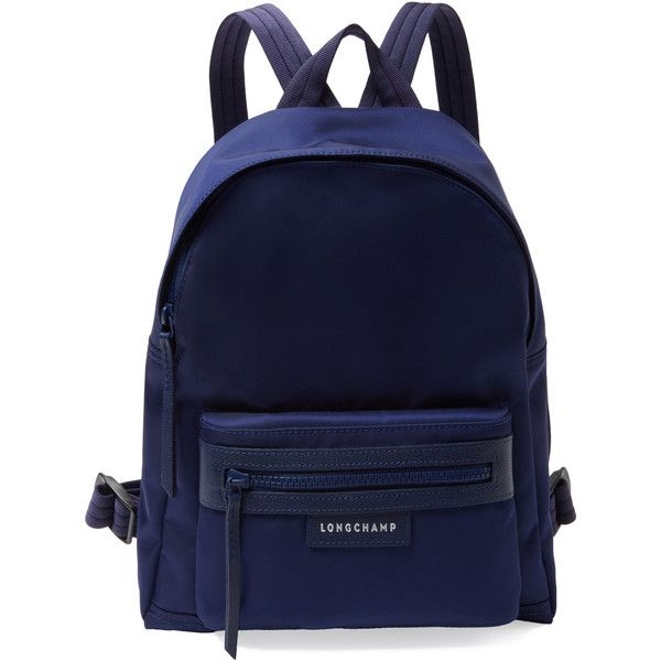 Longchamp Women's Le Pliage NÃo Small Nylon Backpack - Blue (2570 MAD) ❤ liked on Polyvore featuring bags, backpacks, blue, logo backpacks, zip top bag, rucksack bags, strap bag and nylon bag
