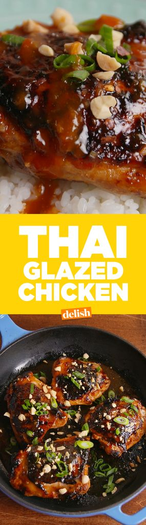 Thai Glazed ChickenThis recipe calls for thighs, but it can be modified for breasts as well!