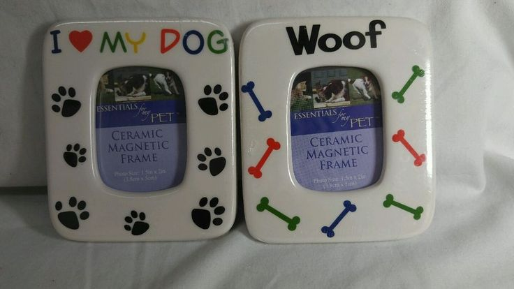 2 Pc ESSENTIALS For My Pet Ceramic Magnetic DOG Photo Frame Woof & I love my Dog #EssentialformyPET