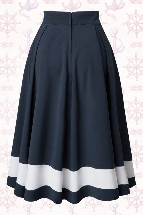 Miss Candyfloss Sailor Navy Blue Swing Skirt 122 31 14878 20150410 0010W