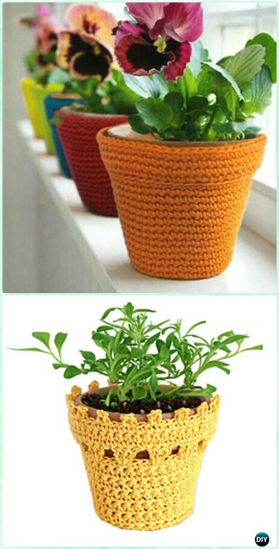 Crochet Multi-purpose Flowerpot Vase Cover Free Diagram - #Crochet Plant Pot Cozy Free Patterns