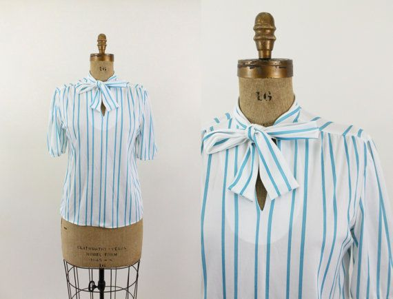 striped blouse - 70s bow tie blouse