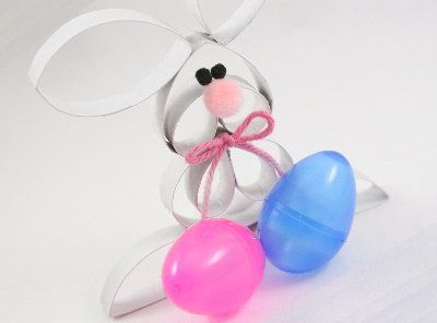 """Tutorials: Paper Roll Easter Bunny-follow along and I'll show you how! The supplies you will need are: 1 paper roll, a 1/2"""" pink pom, two 5mm black poms, a 1"""" white pom, and a short length of ribbon or yarn."""