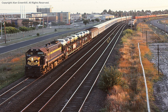 "X54 on the ""Southern Aurora"" at Broadmeadows January 1979"
