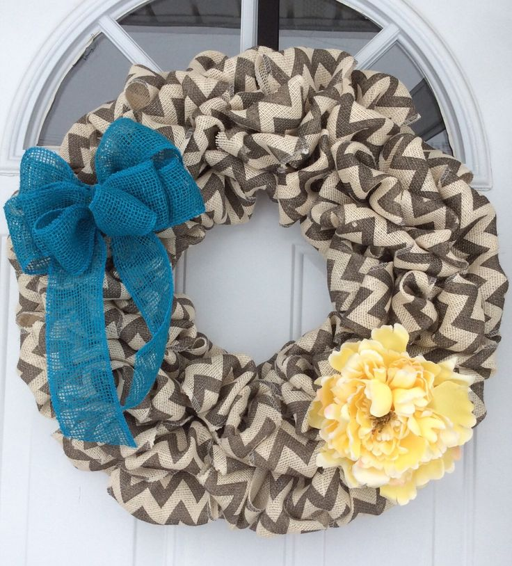 Burlap Wreath.  Chevron Burlap Wreath. Front Door Wreath. Spring Wreath. Morhers Day Gifts by DivaDoorCreations on Etsy https://www.etsy.com/listing/269472508/burlap-wreath-chevron-burlap-wreath