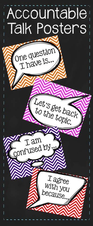 Accountable Talk Poster Pack - Chevron - Classroom - Education