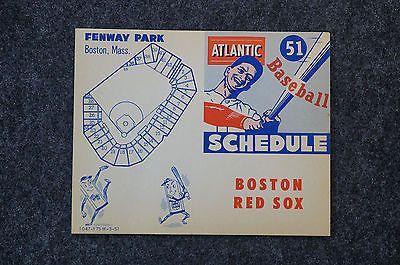 "Vintage Original 1951 Boston Red Sox Schedule Card Fenway Park 5"" x 4"""