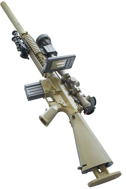Bullet Flight smart phone app mounted onboard a sniper rifle. The app calculates a number of different variables for accurate targeting, i.e. target distance, bullet drop, heat expansion, wind velocity and direction, etc.