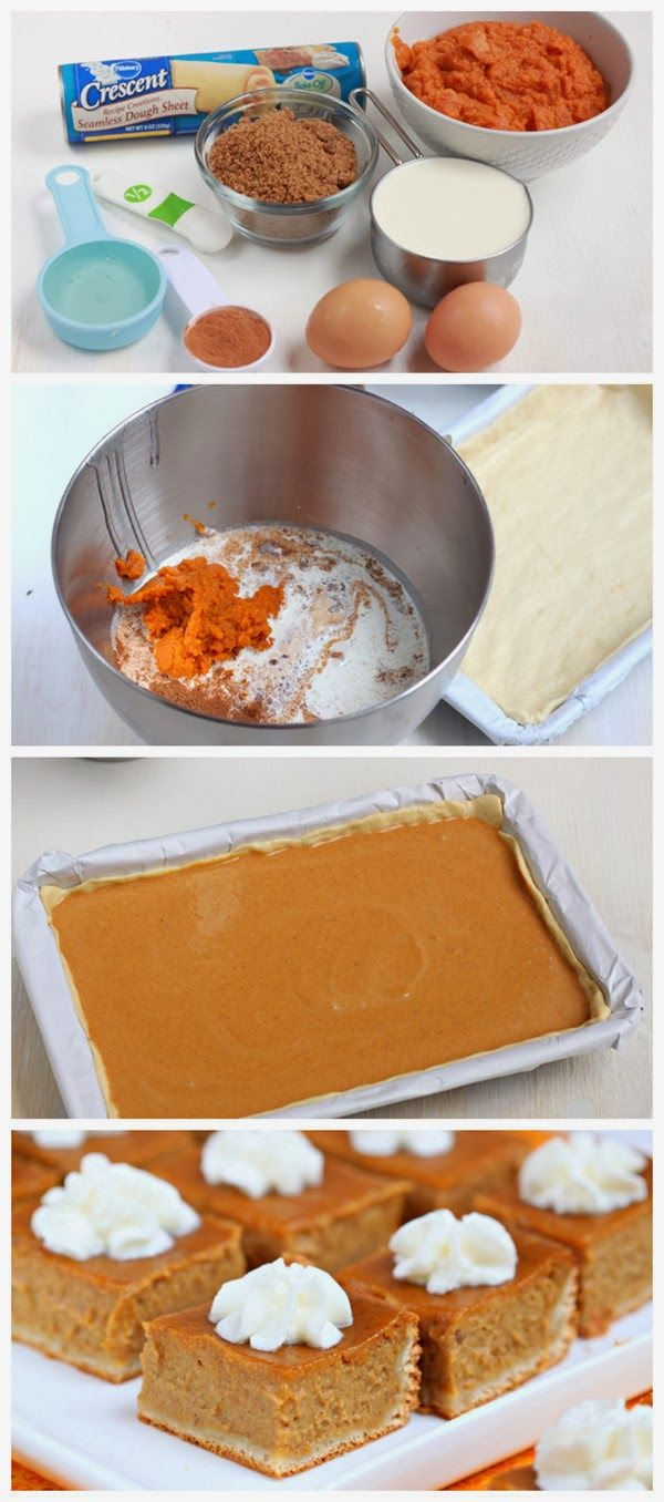 Made with a rich and creamy pumpkin filling, these pie bars are a delicious twist of the classic pie and a nice way to feed a crowd without ...