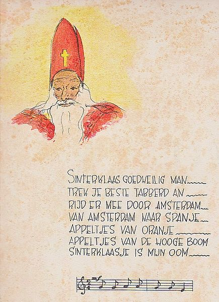 Sinterklaas Goedheilig man, Liedjes: een ouderwetsche Sinterklaas avond Opnieuw bijeen gebracht door Cornelis aan 't Zevenend te Laren., Prentjes Popje Hage.