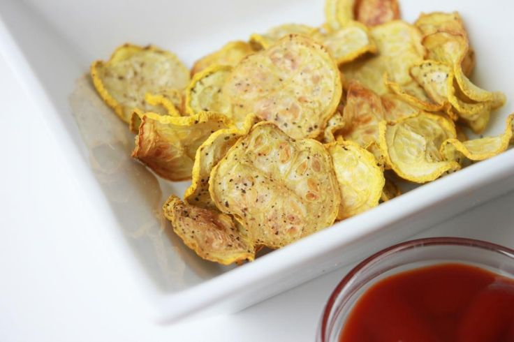 Crispy Baked Yellow Squash Chips. These take 2 hours to bake :-/ but author promises they are worth the wait..