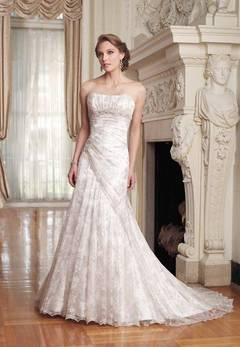 Sophia Tolli Felice wedding dress - white or gold with silver lace overlay.  Love the lace and the asymmetrical design!