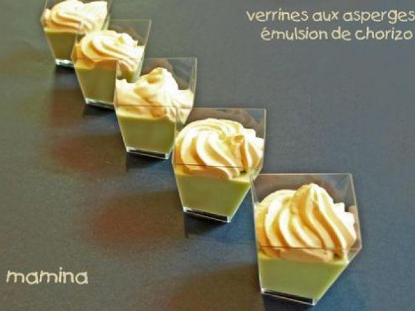 Verrines apéritives à la crème d'asperges et espuma de chorizo