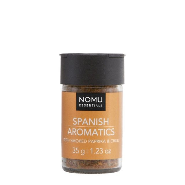 NOMU Spice Blends - Spanish Aromatics: A delicious blend of herbs and spices to add that spicy Spanish flavour to dishes. From paella to BBQ chicken, prawns and seafood, this spice will bring the flavour to any dish!