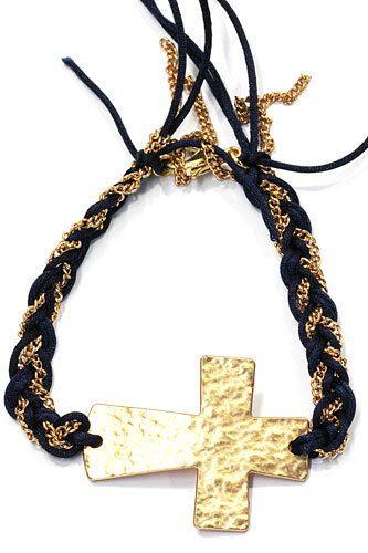 Armband met kruis goudkleurig/donkerblauw