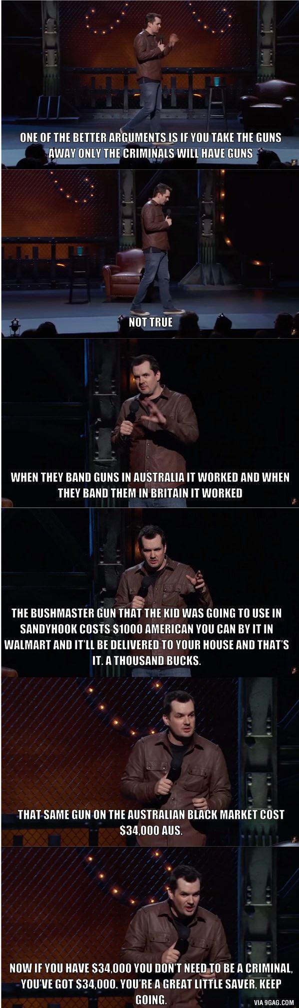 Jim Jefferies nails the gun control argument.