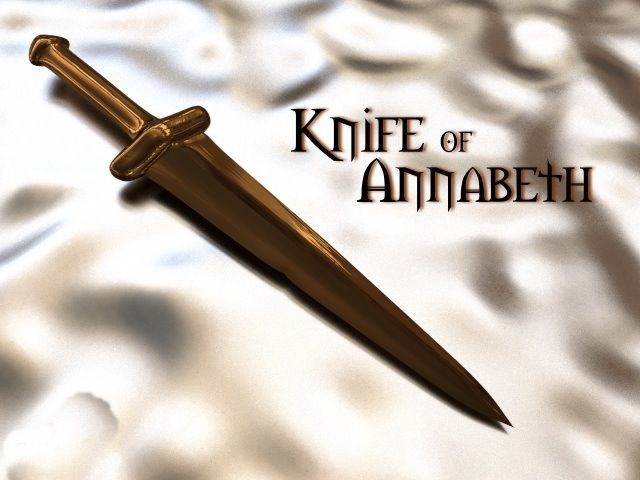I love how all the weapons pictures are like, Backbiter, Riptide, Stygian Iron, Katoptris, and here we have the lame Knife of Annabeth.