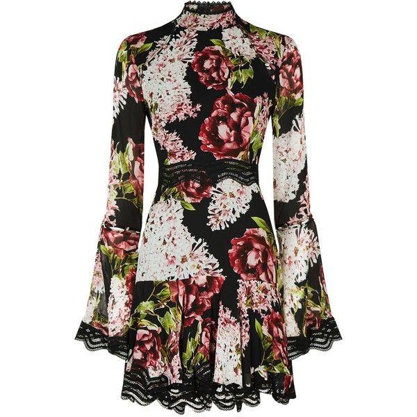 Nicholas Floral Mini Dress ($1,025) ❤ liked on Polyvore featuring dresses, lace mini dress, vintage dresses, long-sleeve floral dresses, high-neck lace dresses and lace-sleeve dress
