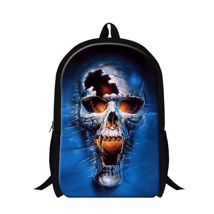 16 inch blue girl skull Backpack School Bags for Teenagers,New Design mochila for boys,children's cool bookbag,stylish day packs #Affiliate