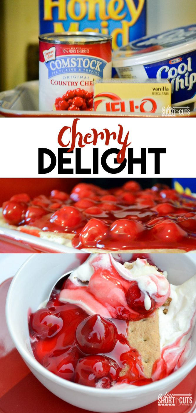 A Summer time or anytime dessert that will make them beg for more! Check out just how easy this no bake Cherry Delight Recipe is!