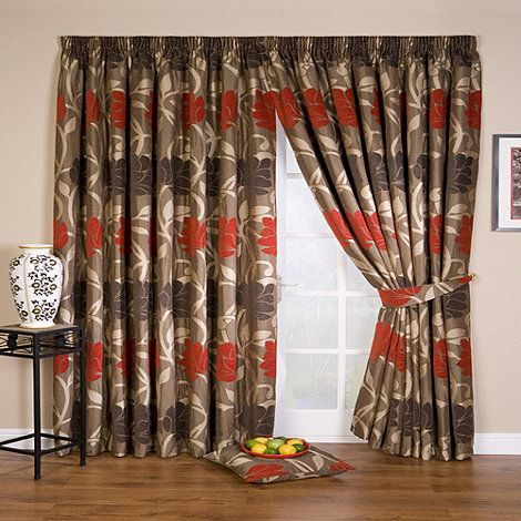 Whiteheads Lucille Red Lined Pencil Pleat Curtains- at Debenhams.com