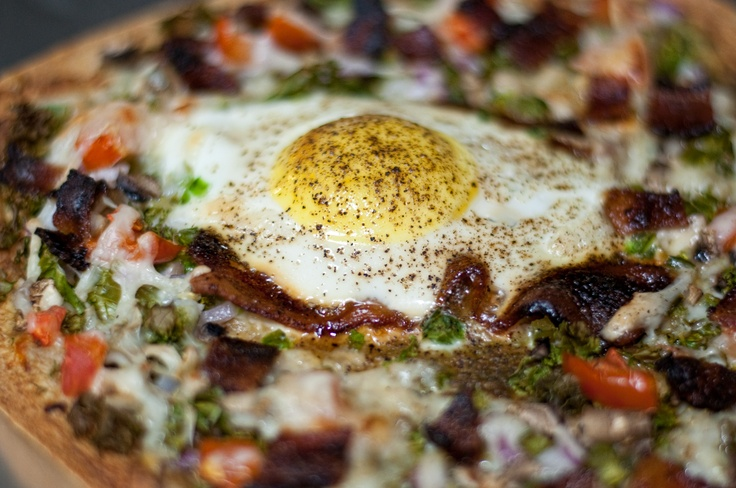 Thin crust breakfast pizza. Spread avacado on tortilla shell for the sauce. In t…