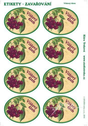 Samolepicí etikety, zavařování, višňový džem 1