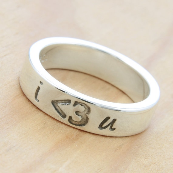 PERSONALIZED Less Than Three  Heart  Emoticon Ring by metalsmitten, $65.00