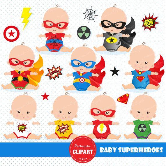 Superhéroes del bebé clipart camisetas de superhéroes