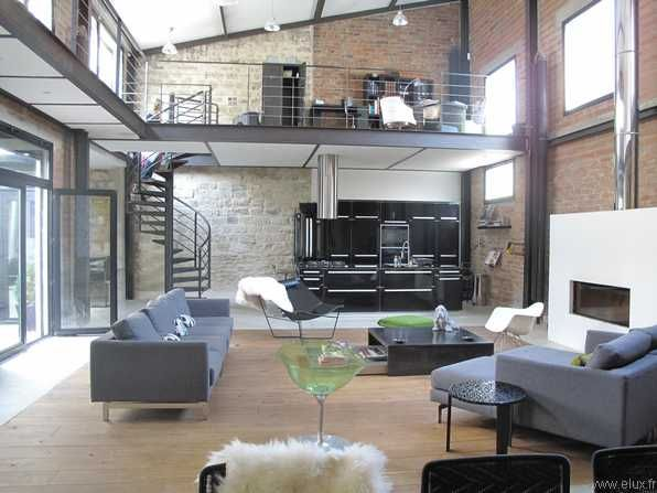 Paris area loft with brick walls and mezzanine....