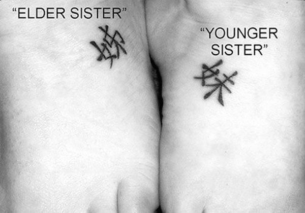 Chinese characters for elder and younger sister      #TattooModels #tattoo