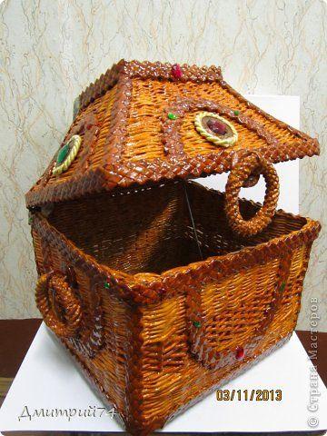 Поделка изделие Плетение ЛАРЕЦ    Трубочки бумажные фото 3