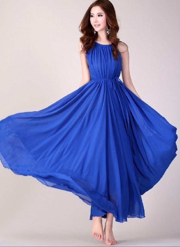 Royal Blue Long Evening Wedding Party Dress Lightweight ...