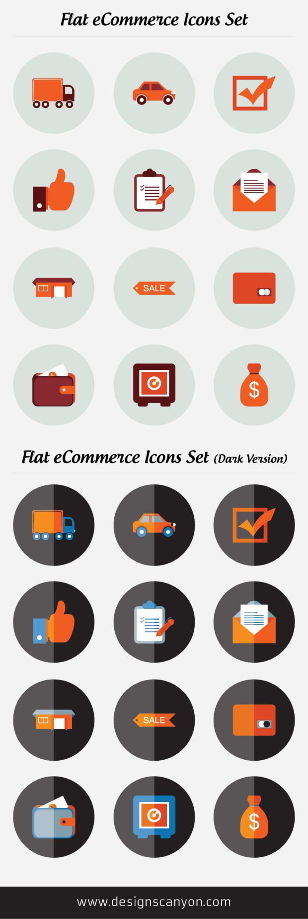 Flat eCommerce Icons Set Free Download