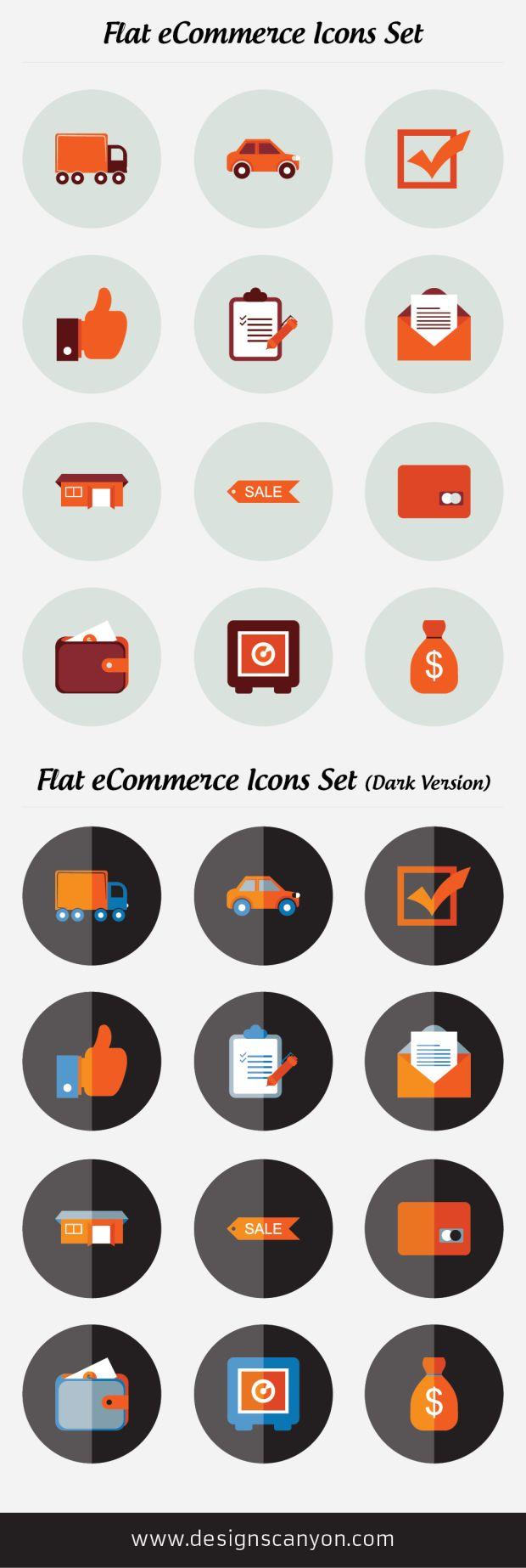 Flat eCommerce Icons Set Free Download