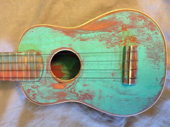 Decorative Hand Painted And Distressed Soprano Ukulele
