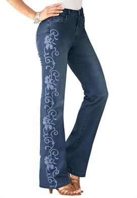 Petite Embroidered Jeans by denim 24/7® | Plus Size Denim Boutique | Roamans