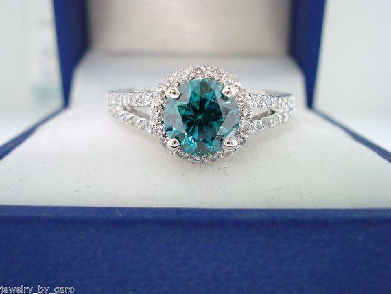 Blue & White Diamond Engagement Ring 1.36 Carat VS2 14K White Gold handmade on Etsy, $2,850.00