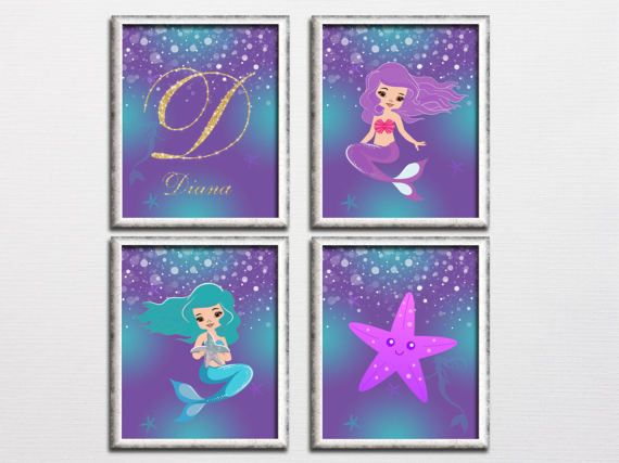 Printable mermaid set purple and turquoise by HappyPrintCreations